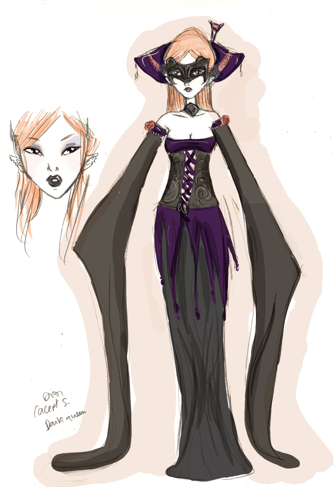 design de costum dark fantasy pour bjd elf